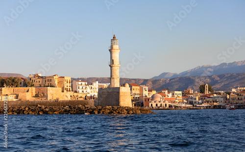 Foto op Aluminium Poort Египетский маяк у входа в Венецианскую гавань города Ханья. Крит. Греция
