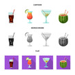 Vector design of drink and bar logo. Collection of drink and party stock vector illustration.