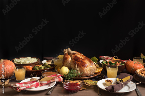 Thanksgiving Turkey Dinner with All the Sides Canvas Print