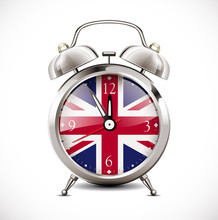Alarm Clock With British Flag On Clock Face - Learning Concept