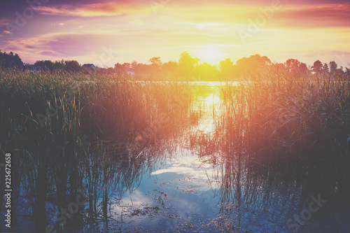 Papiers peints Beige Early morning, sunrise over the lake. Rural landscape