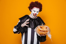 Angry Man Dressed In Scary Clown Halloween Costume
