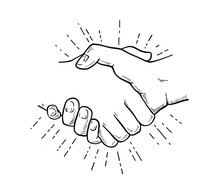 Hand Drawn Sketch Illustration Of A Handshake, Partnership Concept.