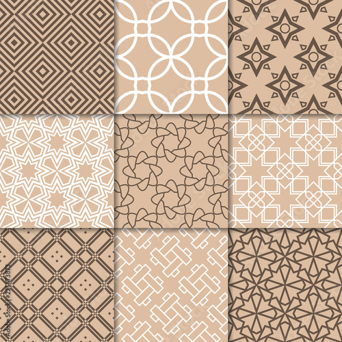 Poster Kunstmatig Brown beige geometric ornaments. Collection of seamless patterns