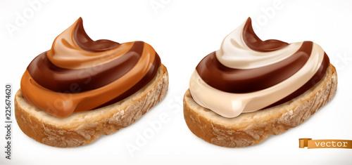 Valokuva  Chocolate swirl on bread. 3d vector realistic icon