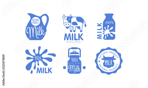 Fototapeta Milk natural products logos set, fresh dairy food label, emblem design in blue c