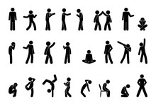 Stick Figure People Pictogram, Set Of Human Silhouettes, Man Icon, Various Poses, Gestures And Movements