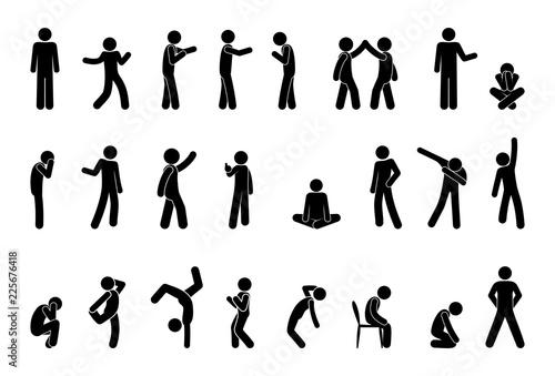 Fotografía  stick figure people pictogram, set of human silhouettes, man icon, various poses