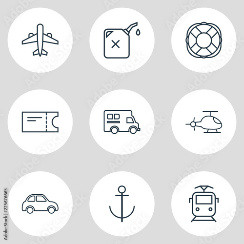 Fotografie, Tablou  Vector illustration of 9 carrying icons line style