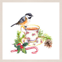 Bird, Tea Cup, Christmas Tree Branch With Cone, Candy Cane. Tea Party Card. Watercolor For Teatime