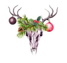 Christmas Deer Skull, Christma...