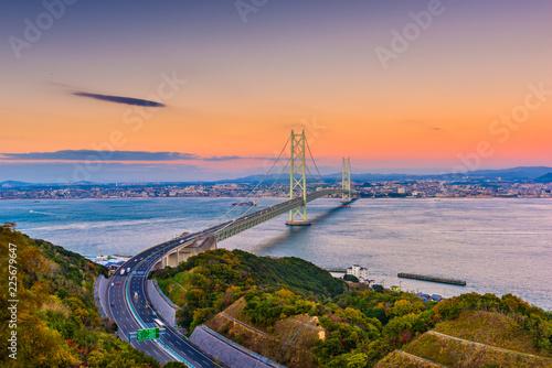Fotografía Awaji Island, Japan view of the Akashi Kaikyo Ohashi Bridge spanning the Seto Inland Sea to Kobe