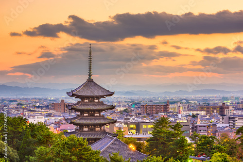 Poster Kyoto Nara, Japan Cityscape and Pagoda