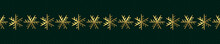 Gold Snowflakes On Striped Dark Green Background