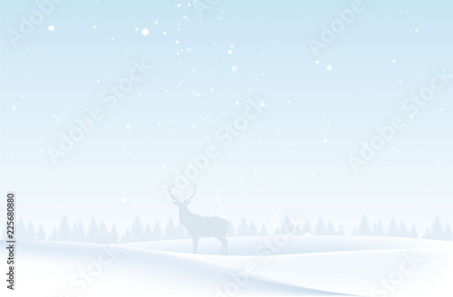Foto op Plexiglas Lichtblauw Christmas landscape with deer and houses. Winter nature. For design flyer, banner, poster, invitation