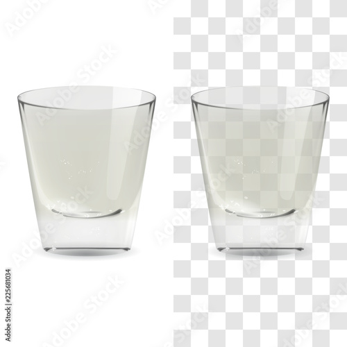 Vector realistic transparent and isolated whiskey shot glass Wallpaper Mural