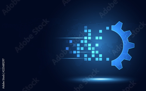 Fotografía  Futuristic blue gear digital transformation abstract technology background