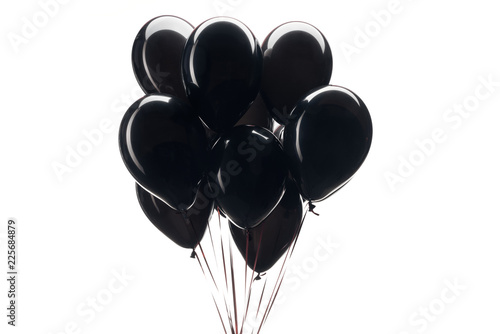 bunch of black balloons isolated on white for black friday sale Canvas Print