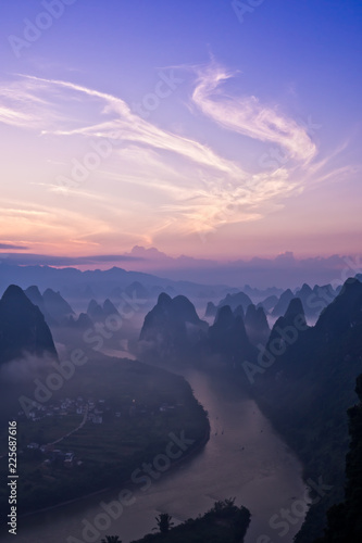 View from Xianggong Hill over the Li river at sunrise Fototapeta