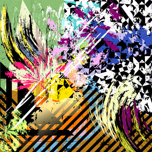Abstract vector artwork, paint strokes, geometric objects, floral elements, grunge style with vibrant colors. Background or print / web design