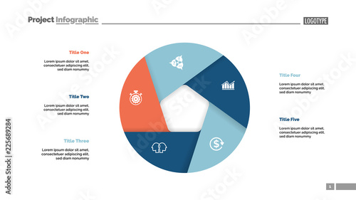 Donut chart with five sections Canvas-taulu