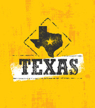 Texas Pride Rough Vector Illustration Grunge Illustration On Stained Wall Background.