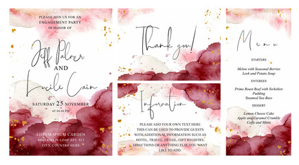 Burgundy, pink and gold wedding set with  hand drawn watercolor background. Includes Invintation, information, menu and thank you cards templates. Vector