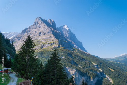 Hiking trail in the Swiss Alps in summer overlooking the Eastern slopes of the Eiger peak