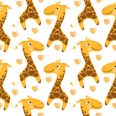 Giraffes seamless pattern on white background