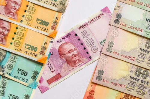 10, 20, 50, 100, 200, 500 and 2000 Indian rupees, old and