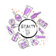 beauty make up poster icons and color