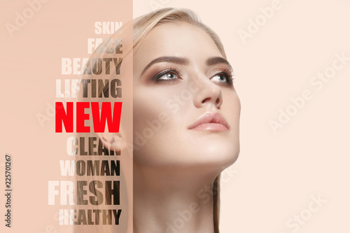 Fotobehang Spa Portrait of face of young, healthy and beautiful woman with perfect skin. The plastic surgery, medicine, spa, cosmetics, lifting and visage concept