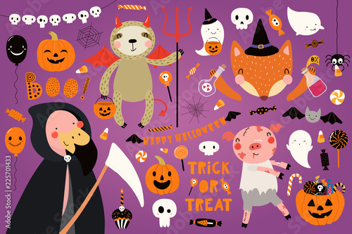Garden Poster Illustrations Big Halloween set with cute animals flamingo, sloth, fox, pig in costumes, ghosts, pumpkin, candy. Isolated objects. Hand drawn vector illustration. Scandinavian style flat design. Concept for party.