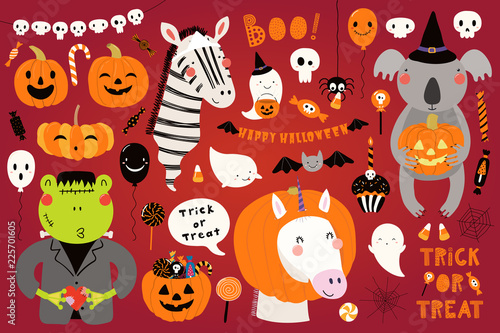 Papiers peints Des Illustrations Big Halloween set with cute animals koala, unicorn, zebra, frog in costumes, ghosts, pumpkin, candy. Isolated objects. Hand drawn vector illustration. Scandinavian style flat design. Concept for party