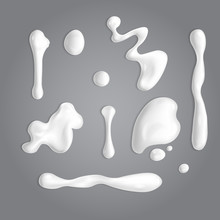 Set Of White Cream Or Yoghurt Drops. Vector Paint Stain Or Yogurt Splash Illustration For Design. Opaque Milk Elements. Mayonnaise Blobs