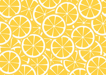 Bright Lemon Slices Vector Background. Summer Bright Tropical Fruit Pattern.