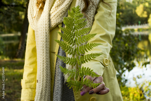 Printed kitchen splashbacks Fairytale World Girl holding fern in the forest,