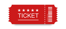 Red Ticket Vector Icon With Shadow On Blank Background