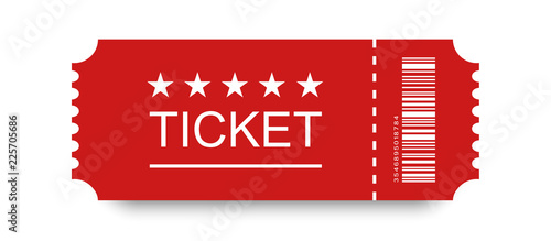 Fotografía  Red ticket vector icon with shadow on blank background