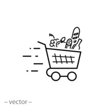 Shopping Cart, Line Sign, Icon Vector