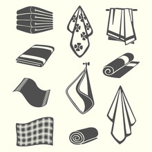 Kitchen And Room Service Towels, Napkins, Textile Vector Illustration Isolated On Background