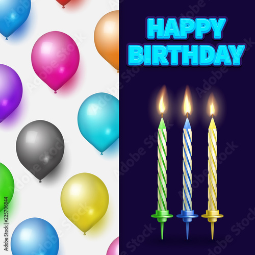 Birthday Party Banner Or Card Template With Realistic Cake Candles And Balloons Vector Illustration