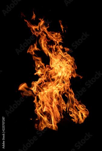 Fototapeta Texture of flame, isolated on black background