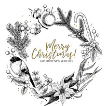 Hand Drawn Christmas Wreath. F...