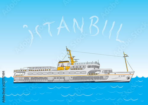 Photo steamship istanbul, istanbul vapur, eminonu steamboat hand drawn illustration ve