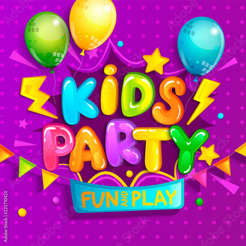 Kids party welcome banner in cartoon style.