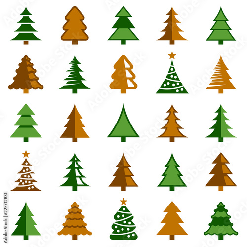 Christmas Tree Illustration.Fototapeta Christmas Tree Icon Collection Vector Color Illustration