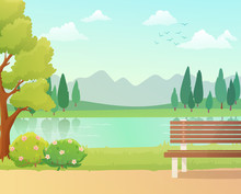 Background Of Park  And Bench With A Lake View. Spring Season With Trees And Bushes. Vector Illustration.