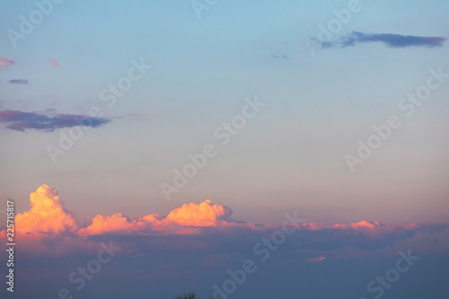 Beautiful sunset sky with volumetric clouds  Overflowing colors from