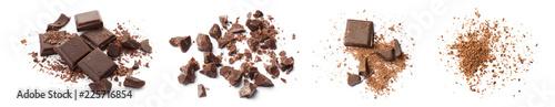 Foto auf AluDibond Desserts Set with delicious chocolate on white background